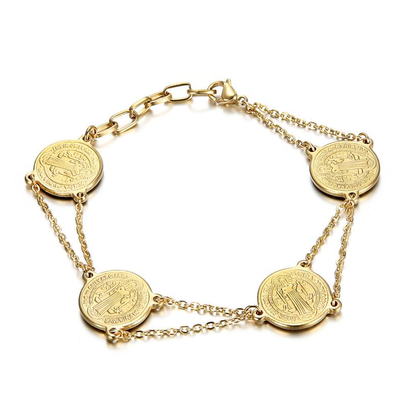 Bracelet Saint-Benoît Femme Protection Acier Or bobijoo
