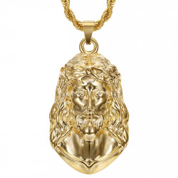PE0332 BOBIJOO Jewelry Christ pendant, giant necklace for men, steel and gold