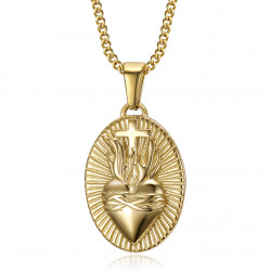 PEF0069 BOBIJOO Jewelry Heart of Christ, steel and gold necklace pendant