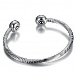 Bracelet aimant Boules Cable Femme Acier Inoxydable bobijoo