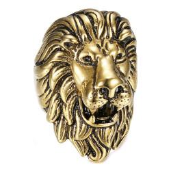 BA0396 BOBIJOO Jewelry Vintage gold and black lion ring, huge jewel