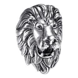 BA0396S BOBIJOO Jewelry Vintage silver and black lion ring, huge jewel