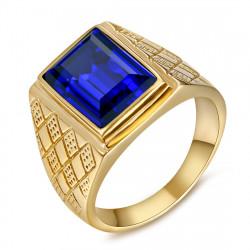 Signet Ring Man Blue Stone Purple Steel Gold IM#20486