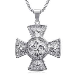 Grand Médaillon Pendentif Croix Pattée Templier Lys Argent bobijoo