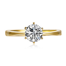 BAF0056 BOBIJOO Jewelry Solitaire ring 6 claws Engagement Steel and Gold