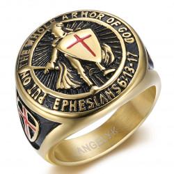 BA0400 BOBIJOO Jewelry Knight Templar Ring Weapons of God Steel Gold