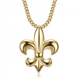 PE0335 BOBIJOO Jewelry Fleur-de-lis necklace, discreet and fine jewel, steel and gold