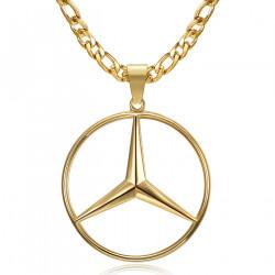 PE0336 BOBIJOO Jewelry Mercedes Sigle Chain Figaro Pendant Steel Gold