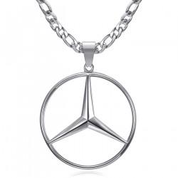 PE0336S BOBIJOO Jewelry Mercedes Sigle Chain Figaro Pendant Steel Silver