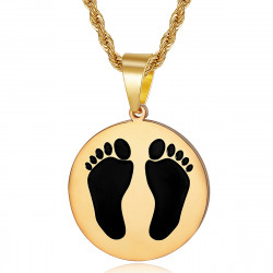 PE0337 BOBIJOO Jewelry French Black Feet Pendant from Algeria Steel Gold