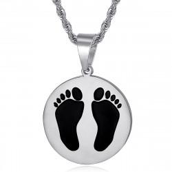 PE0337S BOBIJOO Jewelry French Black Feet Pendant from Algeria Steel Silver
