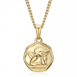 PE0338 BOBIJOO Jewelry Guardian Angel Medal Baptism 18mm Steel Gold Chain