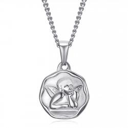 PE0338S BOBIJOO Jewelry Guardian Angel Medal Baptism 18mm Steel Chain