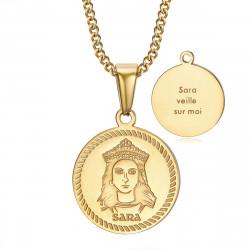 Médaille baptême Sara veille sur moi Gitan Acier Or bobijoo