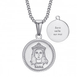 PEF0071S BOBIJOO Jewelry Baptism medal Sara watch over me Gypsy Steel Silver