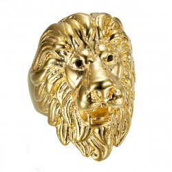 BA0402 BOBIJOO Jewelry Lion head ring: Gold and black diamond eyes, huge jewel