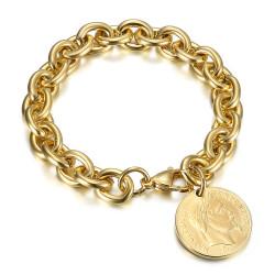 Bracelet charm maille alterné style Tiffany Napoléon Or bobijoo