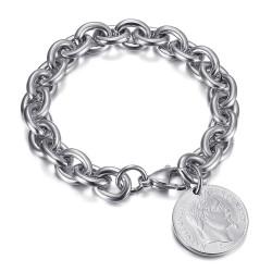 Bracelet charm maille alterné style Tiffany Napoléon Argent bobijoo