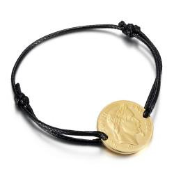 BR0297 BOBIJOO Jewelry Pulsera cordón Napoleón hombre mujer Acero Oro