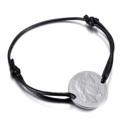 Bracelet cordon Napoléon homme femme Acier Argent bobijoo