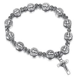 BR0215 BOBIJOO Jewelry Saint Benedict Bracelet Medal Christ Cross Silver plated