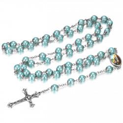CP0042 BOBIJOO Jewelry Lourdes Rosary Prayer Rosary Decade Rosary Pearl Blue