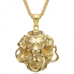 PE0339 BOBIJOO Jewelry Gold lion pendant Steel mouth ring