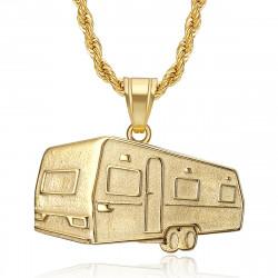 PE0342 BOBIJOO Jewelry Pendant trailer Camping Caravan Verdine Steel Gold