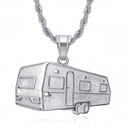 PE0342S BOBIJOO Jewelry Pendant trailer Camping Caravan Verdine Steel Silver