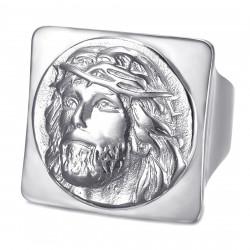 BA0406S BOBIJOO Jewelry Anillo Jesús cuadrado Anillo de sello Cristo Acero inoxidable Plata