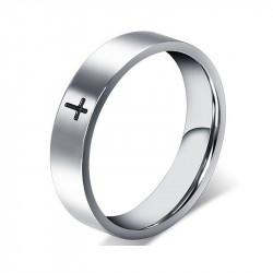 AL0008 BOBIJOO Jewelry Ring-Ring-Alliance-Stahl-Silber Kreuz Jesus Christus Schwarz