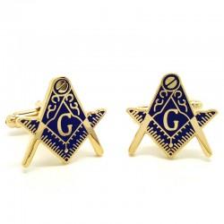 BM0002 BOBIJOO Jewelry Boutons de Manchette Franc-maçonnerie Doré à l'Or Fin Bleu