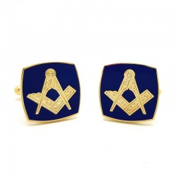 BM0006 BOBIJOO Jewelry Cufflinks freemasonry, Gold Blue Square