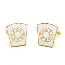 BM0007 BOBIJOO Jewelry Cufflinks freemasonry, Gold and White HTWSSTKS