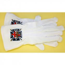 GAN0002 BOBIJOO Jewelry Gloves Freemasonry Embroidered In Hoc Signo Inces Masonic One Size S M L