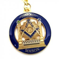 Porte-Clés Masonic Rond LDS Temple Bleu bobijoo