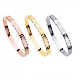 BR0004 BOBIJOO Jewelry Steel Bracelet 3 colors 3 sizes Gold-Plated Rhinestone