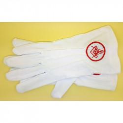 GAN0006 BOBIJOO Jewelry Gloves Freemasonry Embroidered G Masonic Red One Size S M L