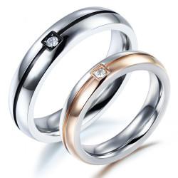 AL0031 BOBIJOO Jewelry Alliance Bague Anneau Rose Gold Noir Faux Diam's