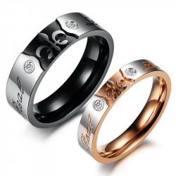 AL0032 BOBIJOO Jewelry Alliance Real Love Rose Gold Noir Mariage Fleur Lys