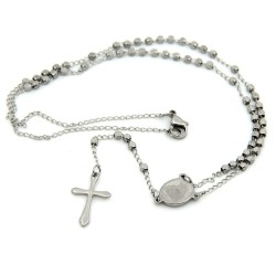 CP0022 BOBIJOO Jewelry Rosary Finish Titanium-Colored Stainless Steel Engraved