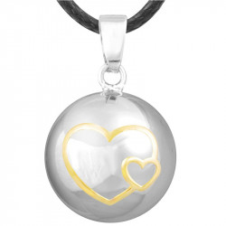 Collier Pendentif Bola Musical Grossesse Double Coeur Or Plaqué Argent Or bobijoo