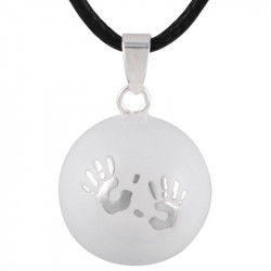 GR0005 BOBIJOO Jewelry Necklace Pendant Bola Musical Pregnancy Hands baby Silver Blank Email