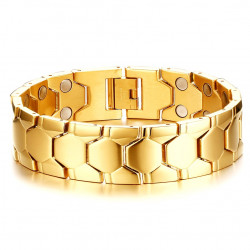 BR0083 BOBIJOO Jewelry Magnetic Bracelet Stainless Steel Gold End