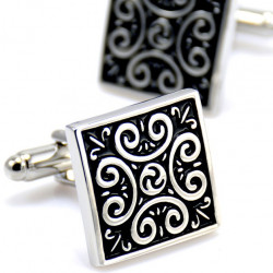 BM0010 BOBIJOO Jewelry Boutons de Manchette Tribal Celte Acier Noir
