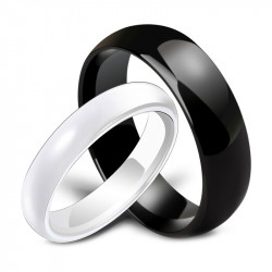 AL0034 BOBIJOO Jewelry Alliance Ring Black or White Ceramic Man Woman