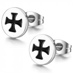 Boucles d'Oreilles Croix de Malte Acier Inoxydable bobijoo