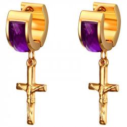 Boucles d'Oreilles Croix Pendantes Doré à l'Or Fin bobijoo