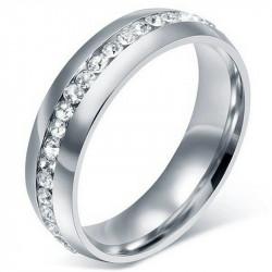 AL0039 BOBIJOO Jewelry Alliance Ring, 6mm Zirconia Stainless Steel silver