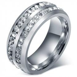 AL0040 BOBIJOO Jewelry Alliance Bague Double Strass Argenté Acier Inoxydable